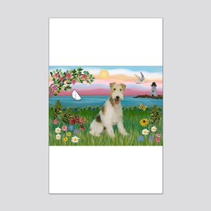 Lighthouse & Wire Fox Terrier Mini Poster Print