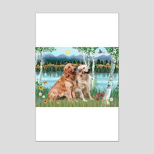 Birches / Golden Mini Poster Print