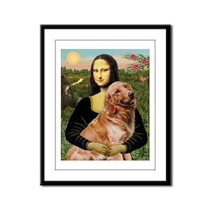 Mona's Golden Framed Panel Print