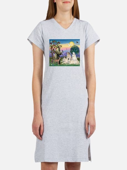 St Francis & Great Pryenees Women's Nightshirt