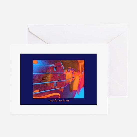 ViolinBlueStrings-poster Greeting Cards