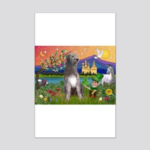 Irish Elf & Irish Wolfhound Mini Poster Print