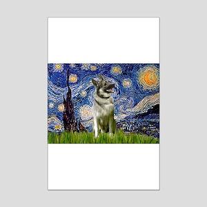 Starry Night Elkhound Mini Poster Print