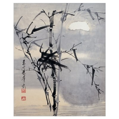 Black Bamboo on Water Poster