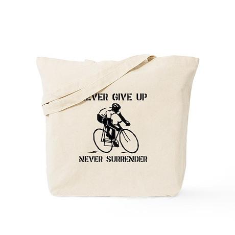 Never Give Up Biker Tote Bag