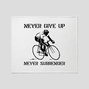 Never Give Up Biker Throw Blanket