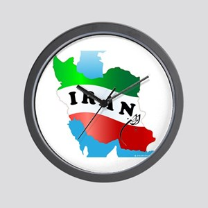 Iran Map with Flag Wall Clock