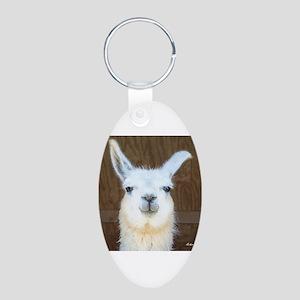 Llamas Aluminum Oval Keychain