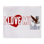 I Love My Sailor Throw Blanket