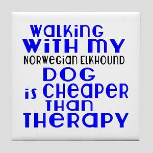 Walking With My Norwegian Elkhound Do Tile Coaster