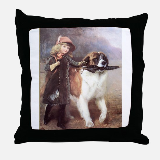 Saint Bernard and child Throw Pillow