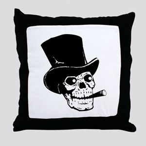 Top Hat Skull Throw Pillow