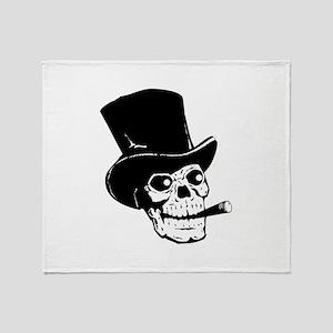 Top Hat Skull Throw Blanket