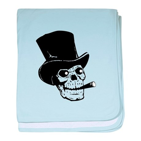 Top Hat Skull baby blanket
