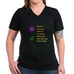 Faith is Knowing V3 Women's V-Neck Dark T-Shirt