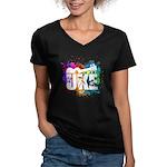 Color Me Uke! Women's V-Neck Dark T-Shirt