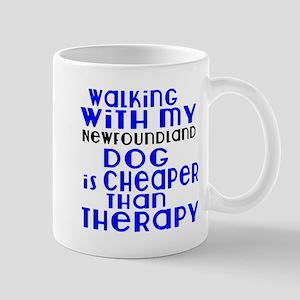 Walking With My Newfoundland Dog 11 oz Ceramic Mug