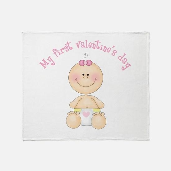 Baby 1st Valentine Throw Blanket