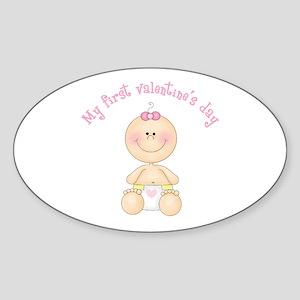 Baby 1st Valentine Sticker (Oval)