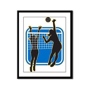 Volleyball Indoor Woman Framed Panel Print