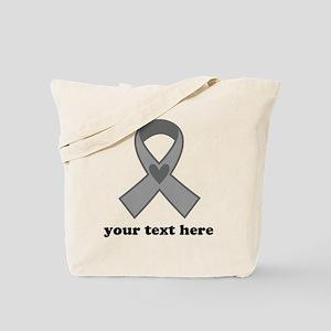 Personalized Gray Ribbon Tote Bag