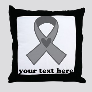Personalized Gray Ribbon Throw Pillow