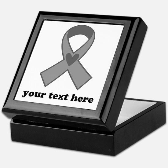 Personalized Gray Ribbon Keepsake Box