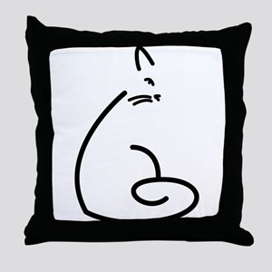 Artistic Swirly Cat Throw Pillow