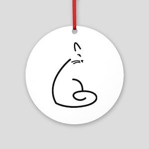 Artistic Swirly Cat Ornament (Round)