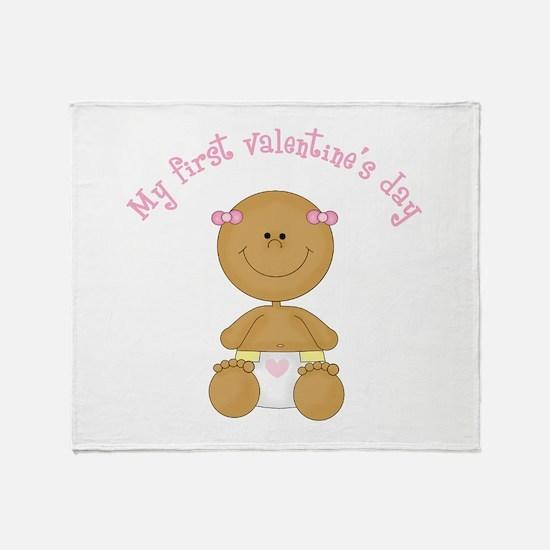 Ethnic Baby 1st Valentine Throw Blanket