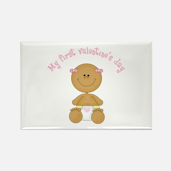 Ethnic Baby 1st Valentine Rectangle Magnet (10 pac