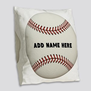 Baseball Name Customized Burlap Throw Pillow