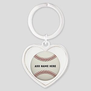 Baseball Name Customized Heart Keychain