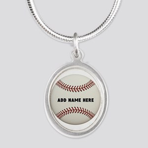 Baseball Name Customized Silver Oval Necklace