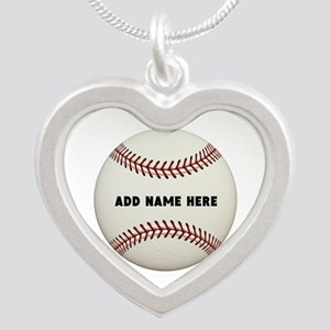 Baseball Name Customized Silver Heart Necklace