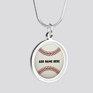 Baseball Name Customized Silver Round Necklace