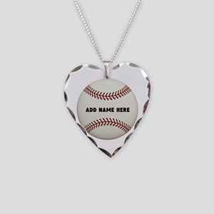 Baseball Name Customized Necklace Heart Charm