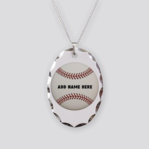 Baseball Name Customized Necklace Oval Charm