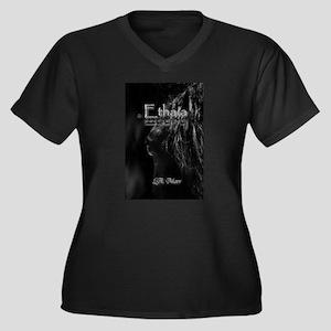 Ethaia Women's Plus Size V-Neck Dark T-Shirt