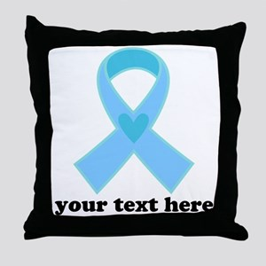 Personalized Light Blue Ribbon Throw Pillow