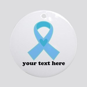 Personalized Light Blue Ribbon Ornament (Round)
