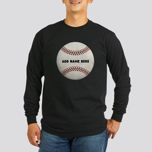 Baseball Name Customized Long Sleeve Dark T-Shirt