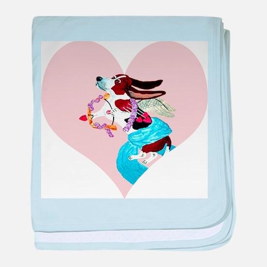 Basset Hound Cupid baby blanket