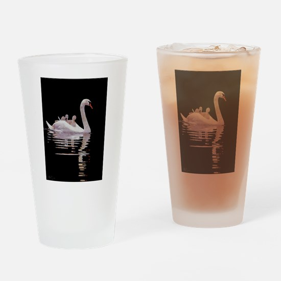 Cute Swans Drinking Glass