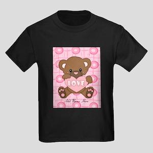 Personalized Cute pink valent Kids Dark T-Shirt