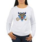 Owl on Skeleton Key Women's Long Sleeve T-Shirt