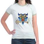 Owl on Skeleton Key Jr. Ringer T-Shirt