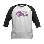 Never Trust a Plastic Hippo Kids Baseball Jersey