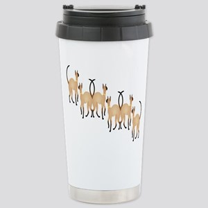 Twin Siamese Cats Chain Stainless Steel Travel Mug