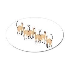 Twin Siamese Cats Chain 22x14 Oval Wall Peel